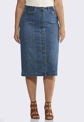 Plus Size Button Front Denim Skirt | Tuggl