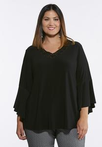 Plus Size Crochet Trim Flared Sleeve Top