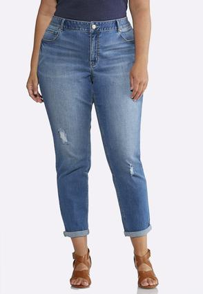 Plus Size Relaxed Girlfriend Ankle Jeans | Tuggl