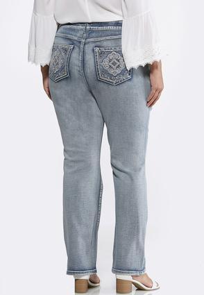 Plus Size Rhinestone Pocket Bootcut Jeans   Tuggl