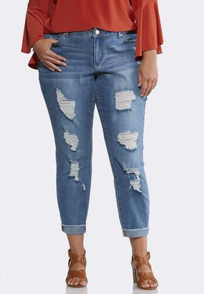 Plus Size Heavy Distressed Ankle Jeans | Tuggl