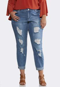 Plus Size Heavy Distressed Ankle Jeans