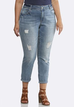 Plus Size Pearl Embellished Jeans   Tuggl