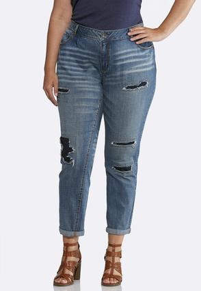Plus Size Distressed Dark Backing Jeans | Tuggl