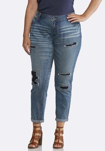 Plus Size Distressed Dark Backing Jeans