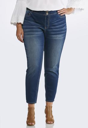 Plus Size Ankle Whiskered Jeggings | Tuggl