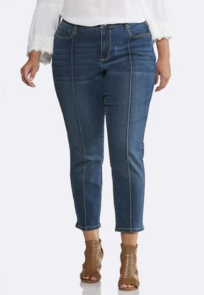 Plus Size Pintuck Ankle Jeans   Tuggl