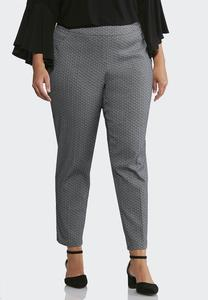 Plus Size Jacquard Pull-On Pants