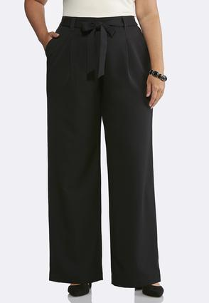 Plus Size Solid Tie Front Pants | Tuggl