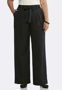 Plus Size Solid Tie Front Pants