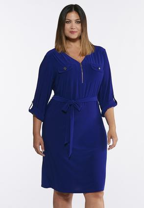 Plus Size Solid Tie Waist Shirt Dress