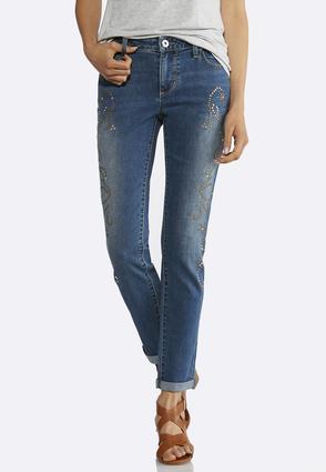 Swirl Embellished Ankle Jeans   Tuggl