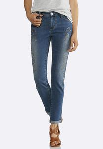 Swirl Embellished Ankle Jeans