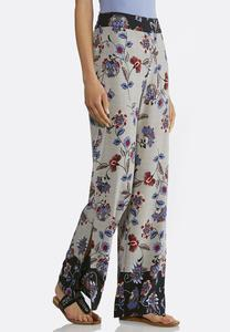Floral Houndstooth Palazzo Pants