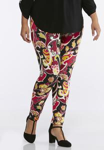 Plus Size Bright Floral Leggings