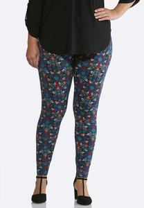 Plus Size Mulberry Floral Leggings