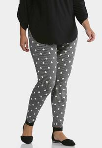 Plus Size Dotted Plaid Leggings