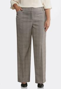 Plus Size Shape Enhancing Plaid Pants