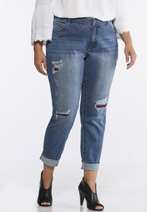 Plus Size Plaid Distressed Jeans