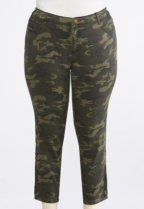 Plus Size Camo Ankle Jeans   Tuggl
