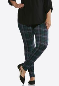 Plus Size Plaid Ponte Leggings