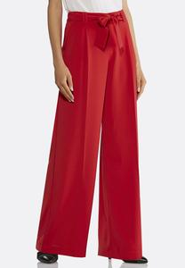 Wide Leg Tie Front Red Pants