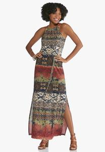 Petite Tribal Halter Maxi Dress