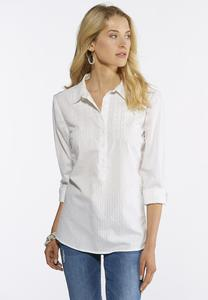 Plus Size Embroidered Shadow Stripe Shirt