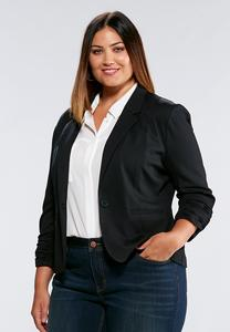 Plus Size Neutral Ponte Blazer