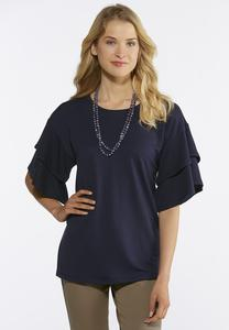 Plus Size Tiered Ruffle Sleeve Tee