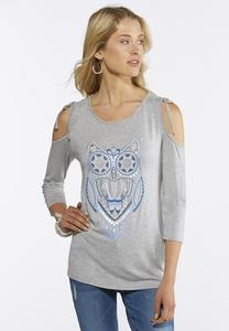Embellished Cold Shoulder Owl Top