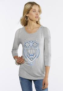 Plus Size Embellished Cold Shoulder Owl Top