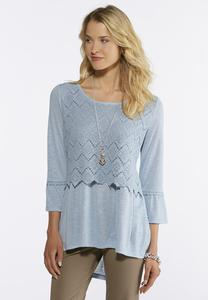Plus Size Crochet Overlay Bell Sleeve Top