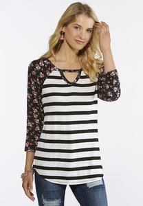 Plus Size Stripe Floral Top