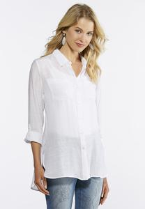 Plus Size Solid Button Down Tunic