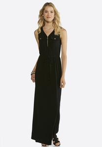 Tie Waist Zip Front Maxi Dress
