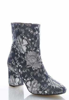 Denim Floral Ankle Boots