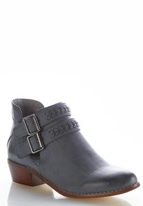 Wide Width Whipstitch Buckle Ankle Boots