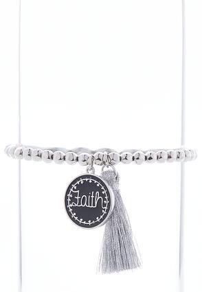 Faith Tassel Stretch Bracelet | Tuggl