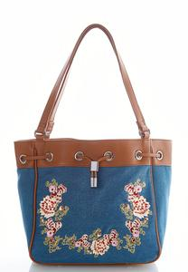 Embroidered Denim Bucket Bag