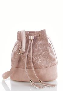 Lace Embossed Bucket Bag