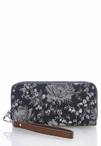 Denim Floral Wristlet Wallet