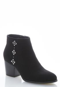 Wide Width Silver Stud Ankle Boots