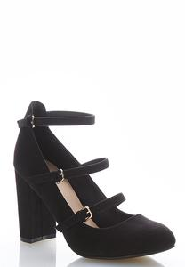 Triple Buckle Block Heel Pumps