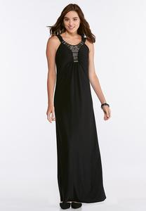 Embellished Stretch Maxi Dress