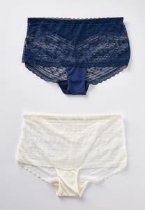 Plus Size Rich Blue Ivory Lace Panty Set
