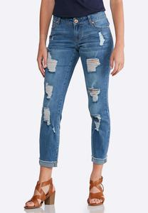 Heavy Distressed Ankle Jeans