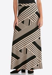 Plus Size Geo Print Maxi Skirt