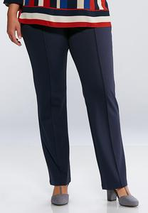 Plus Extended Pintuck Ponte Pants