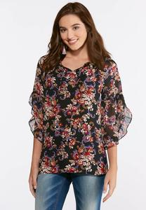 Sheer Floral Ruffle Sleeve Top